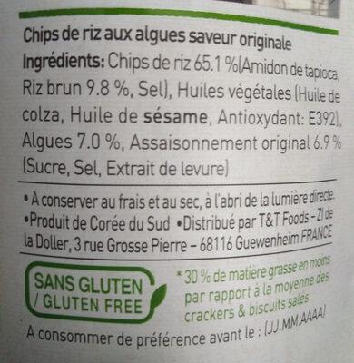 SEAWEED CRISPS - Chips d'Algues - Ingrédients