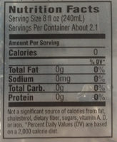 Hawaii water - Nutrition facts