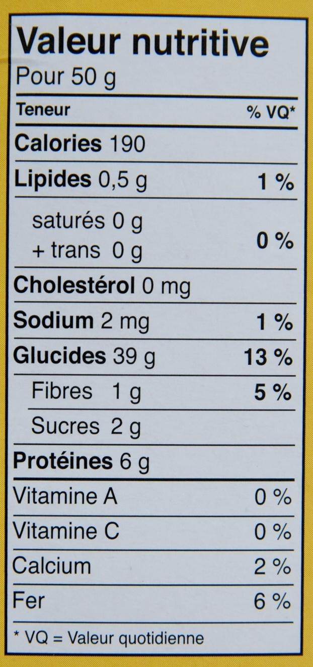 Couscous Tipiak - Nutrition facts - fr