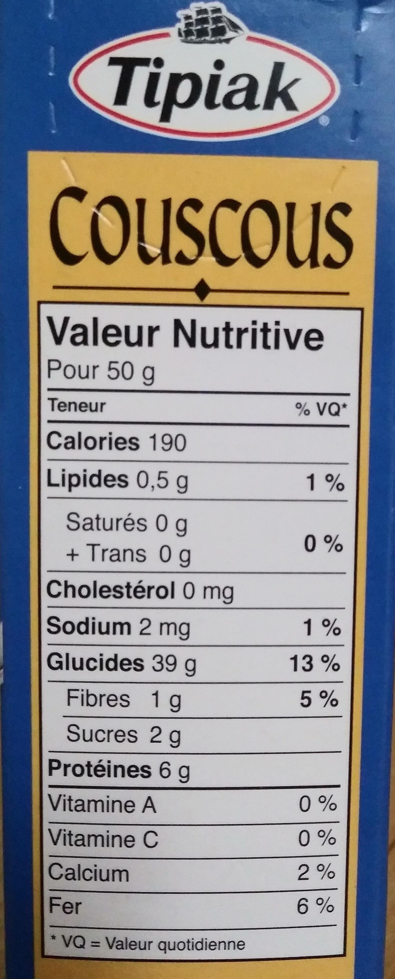 Couscous - Nutrition facts - fr