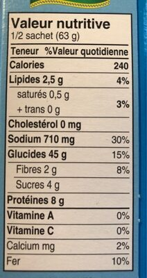Couscous Menthe Et Citron - Nutrition facts - fr