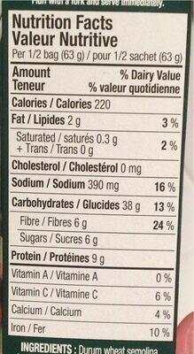 Couscous gourmet - Nutrition facts - fr