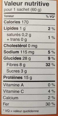 Lentilles vertes - Nutrition facts - fr