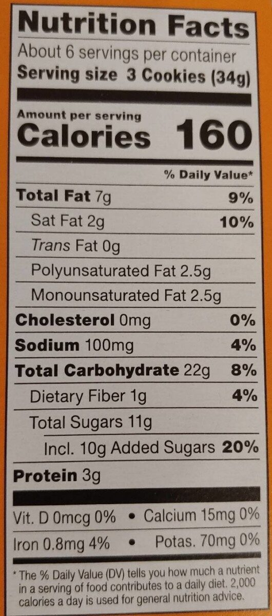 Girls Scouts do-si-dos - Nutrition facts