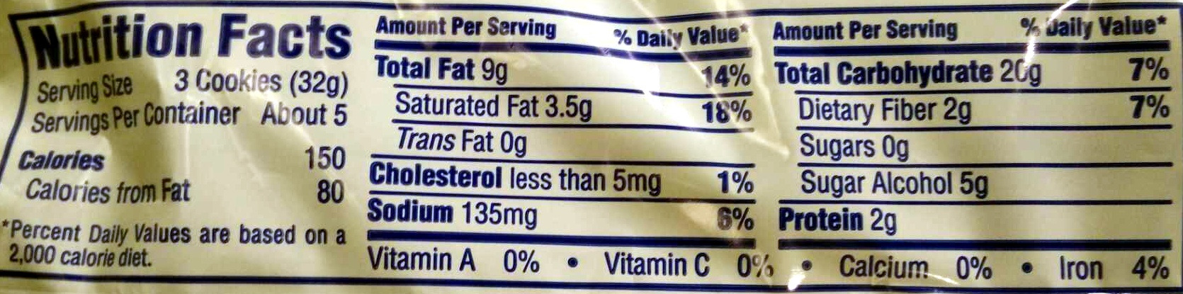 Murray, sugar free cookies, chocolate chip - Nutrition facts - en