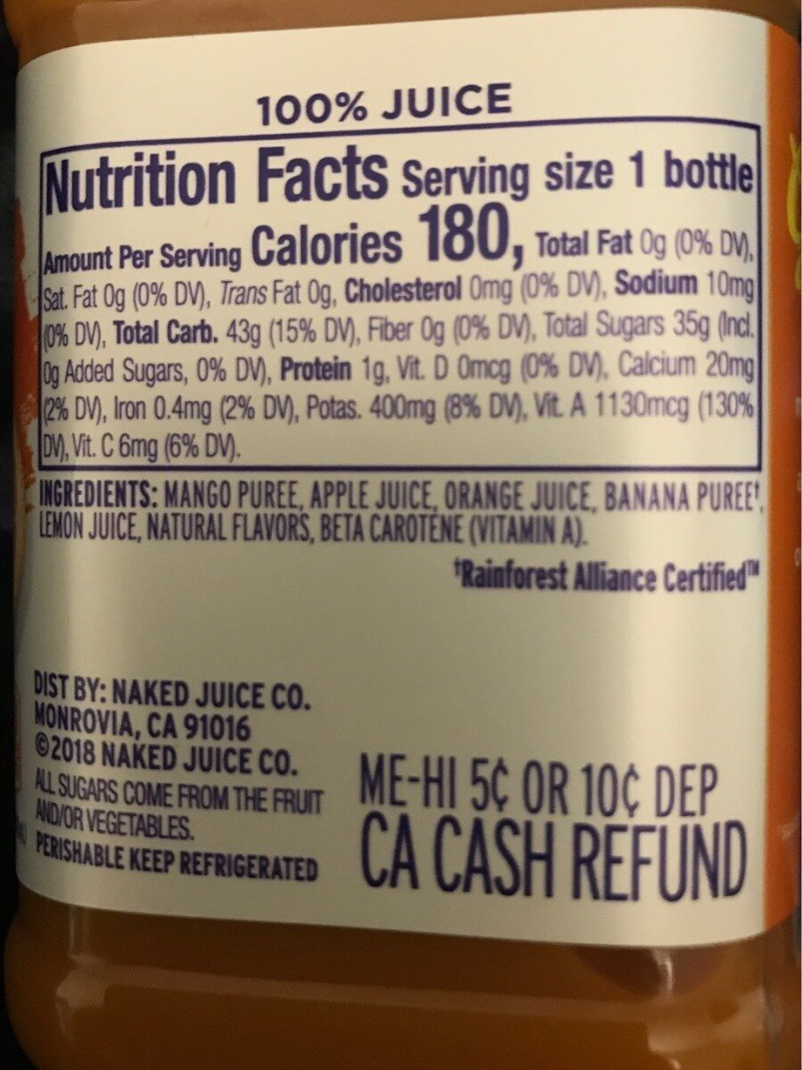 Naked Mighty Mango - Nutrition facts - en