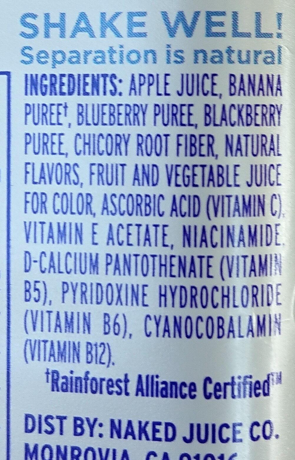 100% Juice Smoothie, Boosted Blue Machine - Ingredients - en