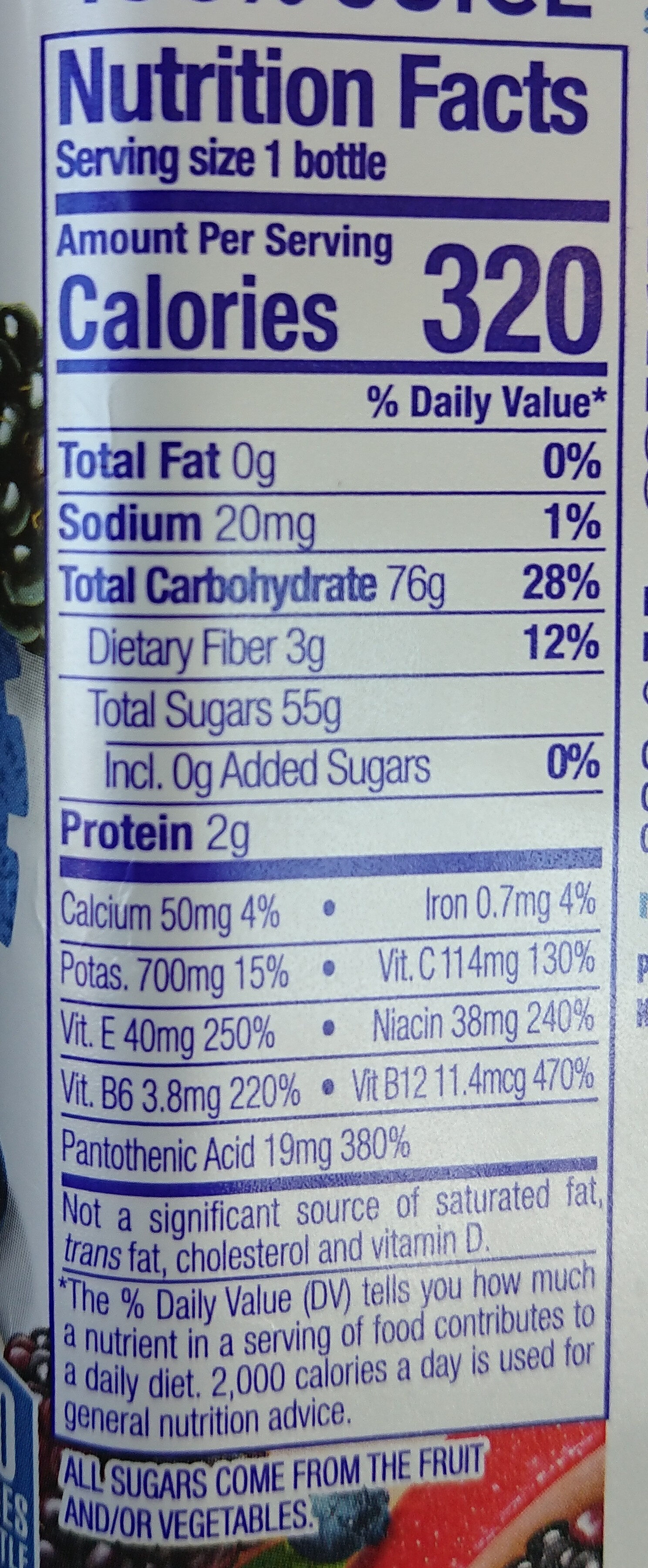 100% Juice Smoothie, Boosted Blue Machine - Nutrition facts - en