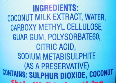 Coconut Milk Rich Formula - Ingredients