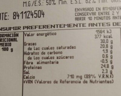 Queso cheddar semicurado lonchas - Informació nutricional