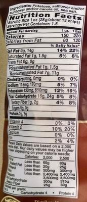 Kettle Brand Potato Chips - Sea Salt - Nutrition facts