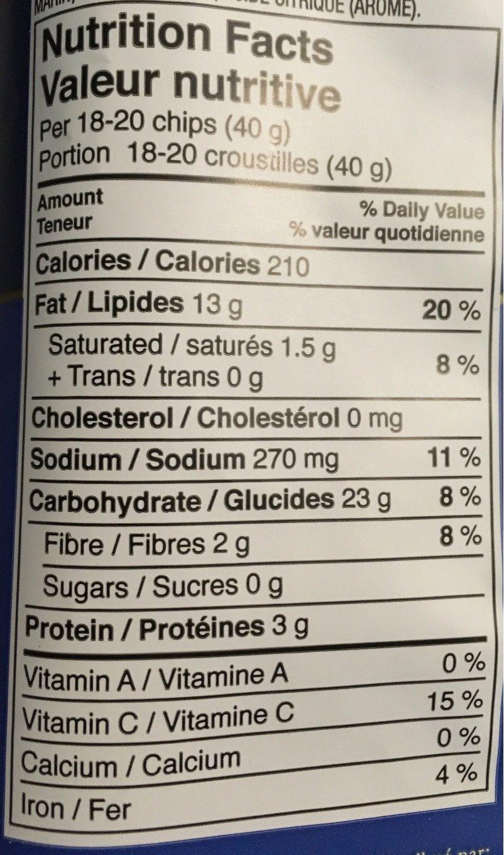 Croustilles Sel et Vinaigre - Nutrition facts
