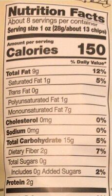 Kettle chips unsalted ounce - Nutrition facts - en