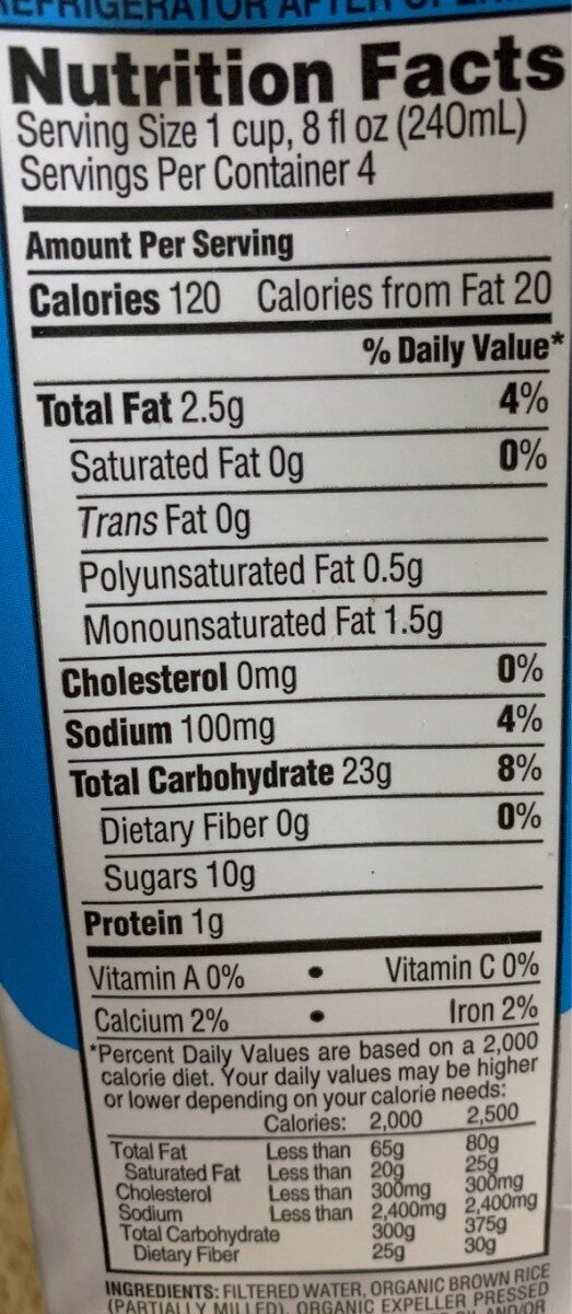 Rice drink - Nutrition facts