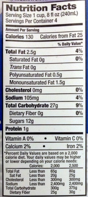Rice drink vanilla classic - Nutrition facts