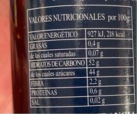 Mermelada de frambuesas - Nutrition facts - en