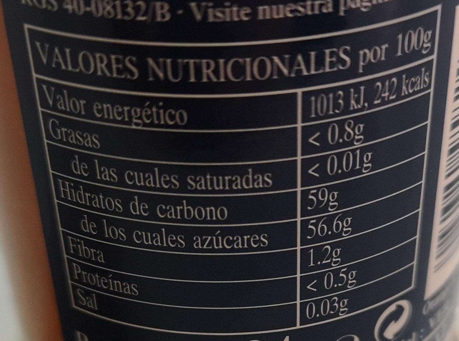 Rapsodia de frutas jengibre y naranja - Informació nutricional