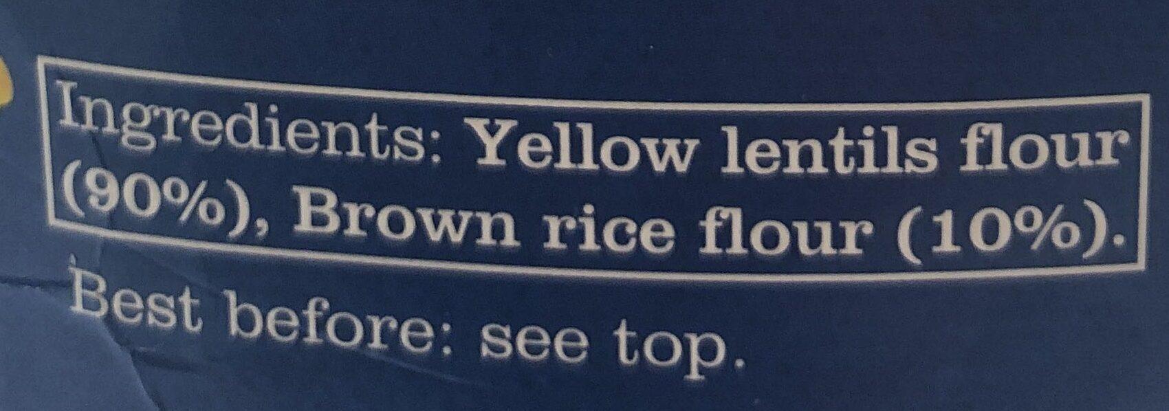 Yellow lentil pasta - Ingrédients