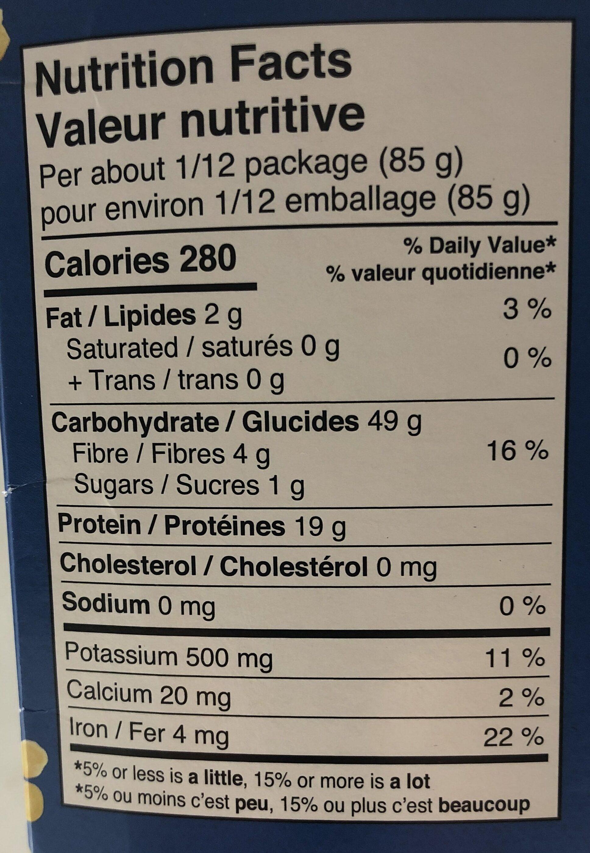 Yellow lentil pasta - Informations nutritionnelles