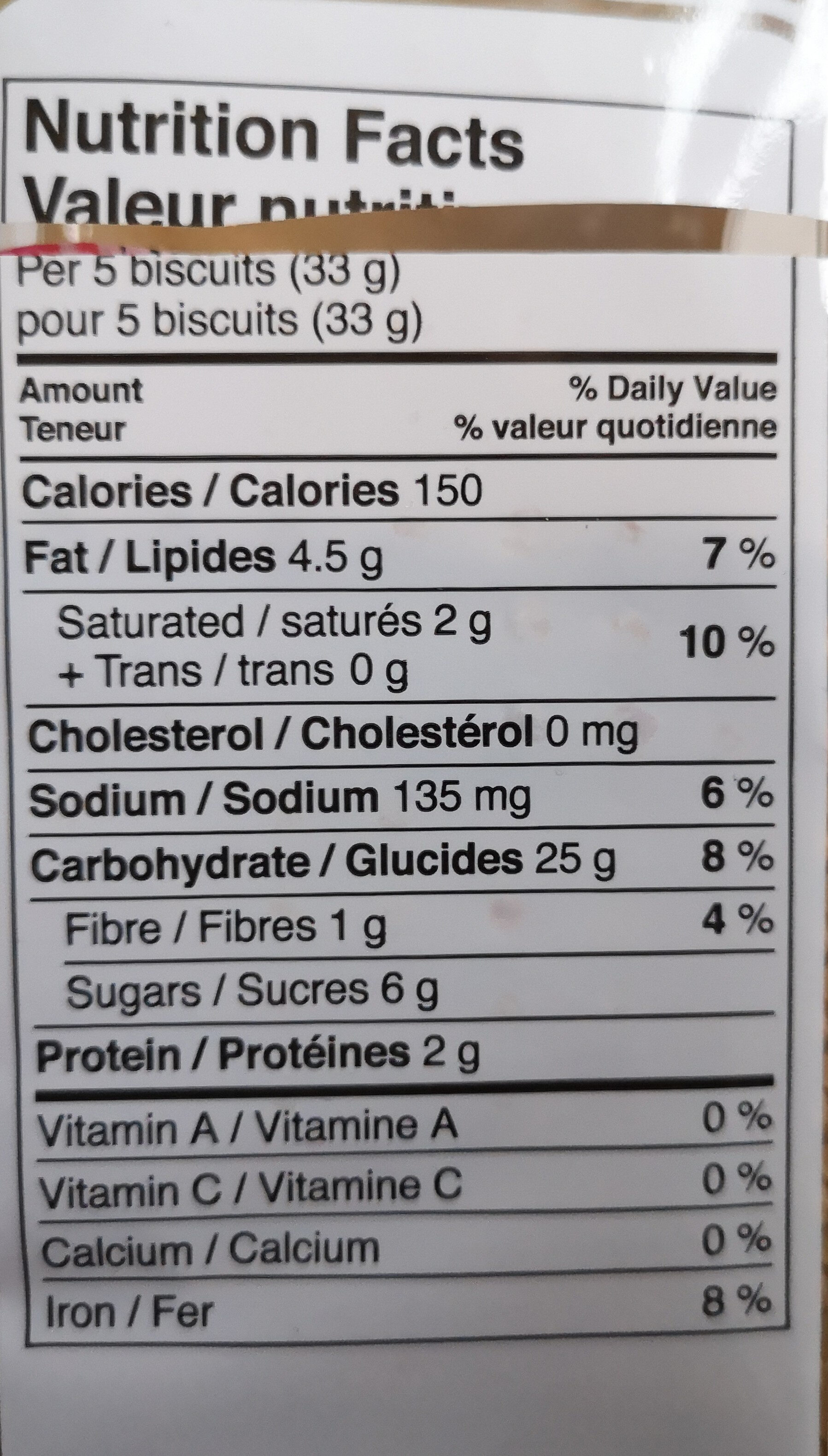 Biscuits - Nutrition facts
