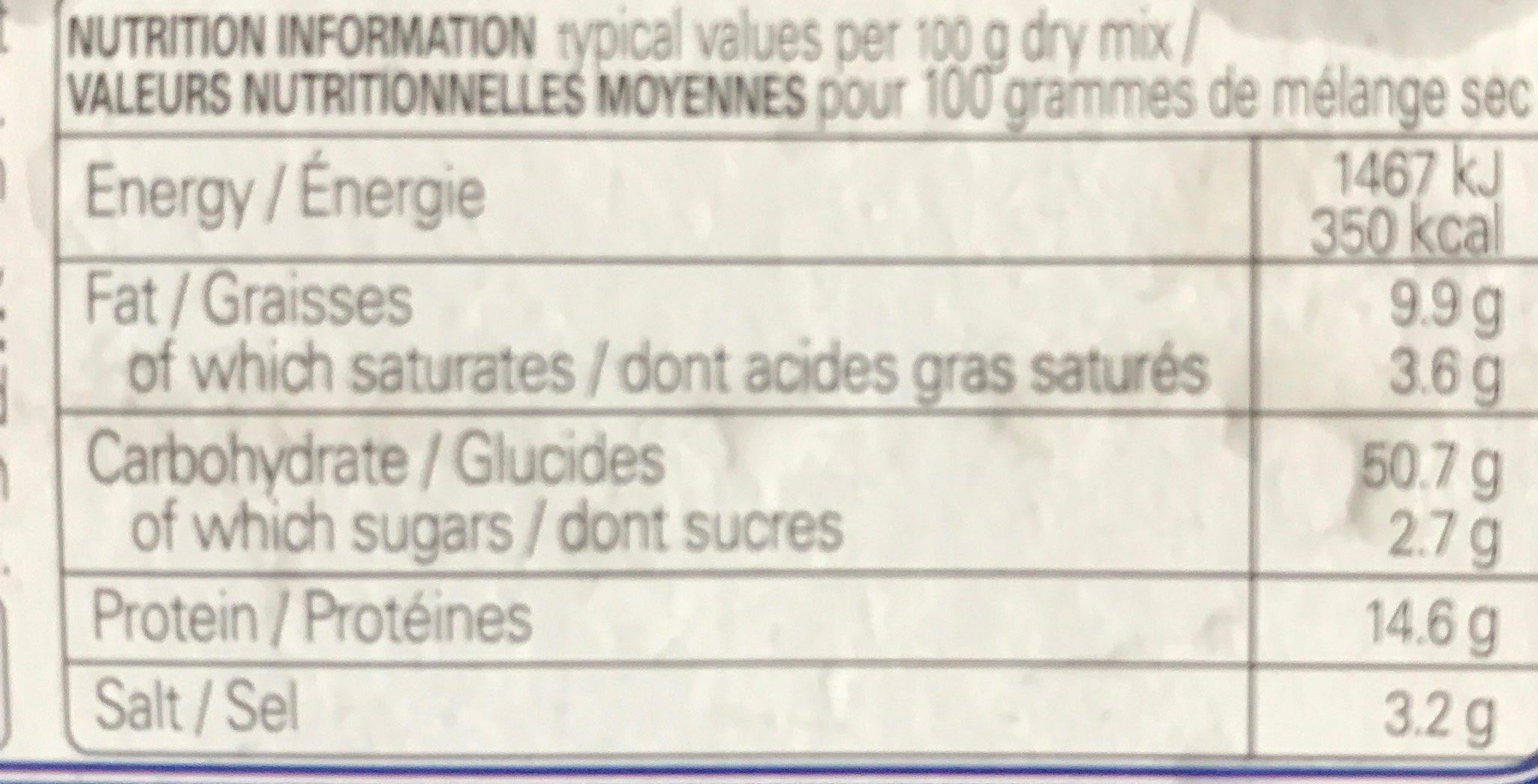 Knorr, falafel mix - Nutrition facts - en