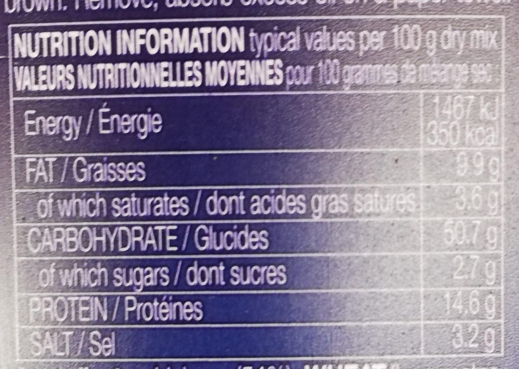 Préparation Pour Falafel - Voedingswaarden - fr