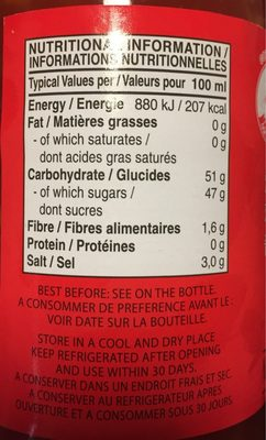 Sweet Chilli Sauce for Chicken - Nutrition facts