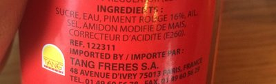 Sauce Piment Volaille 230 G COCK - Ingredients