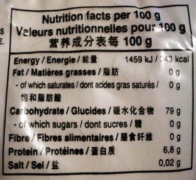 Farine de Riz - Informations nutritionnelles - fr