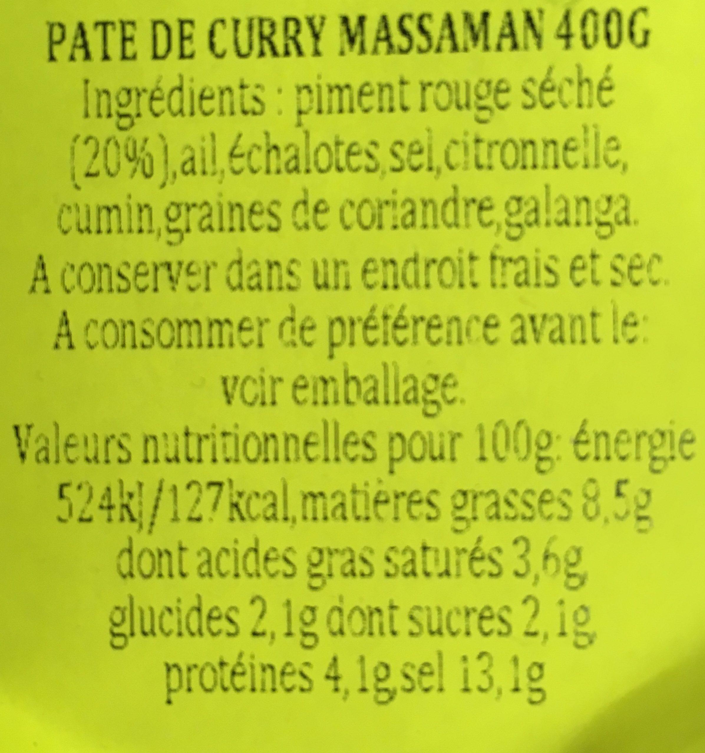 Pate De Curry Matsaman - Ingrédients