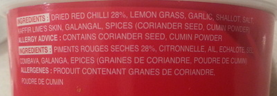 Red Curry Paste - Ingredients - fr