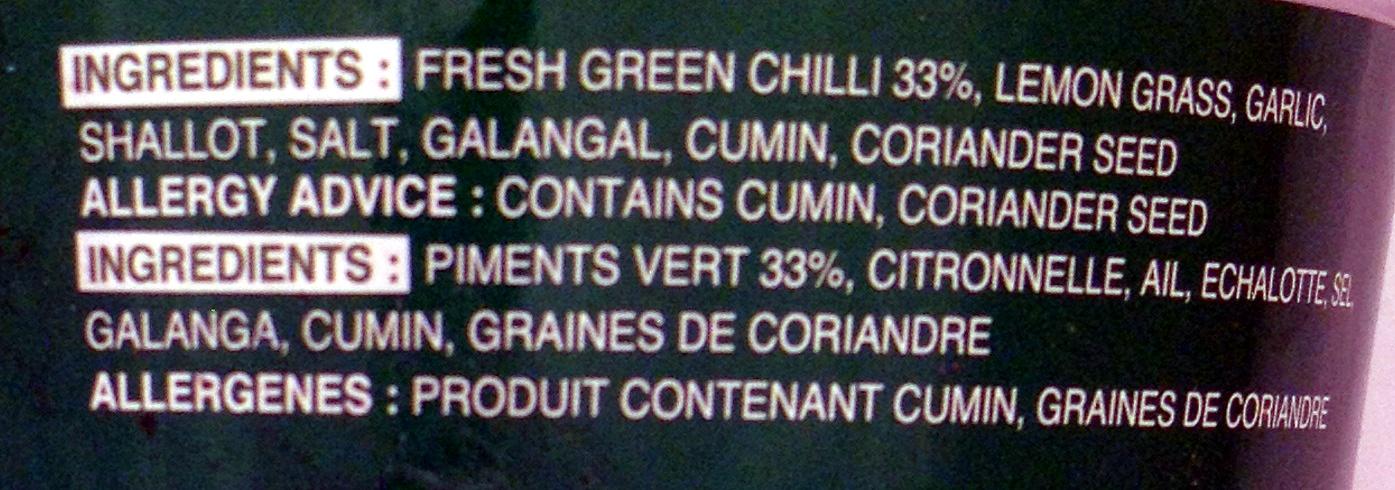 Pâte de Curry vert - Ingrediënten