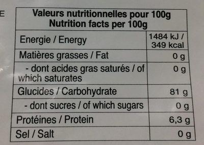Farine de Riz Gluant au Pandan - Nutrition facts