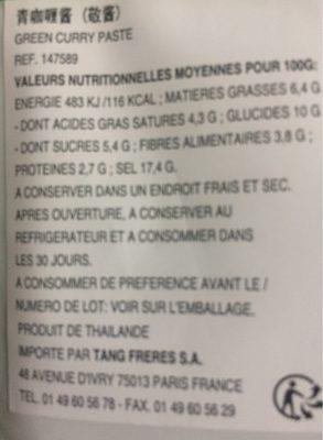 2 x 50 g Thai Grüne Currypaste Cock = Green Curry Paste - Informations nutritionnelles - fr