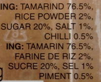 Tamarind candy hot - Ingrédients - fr