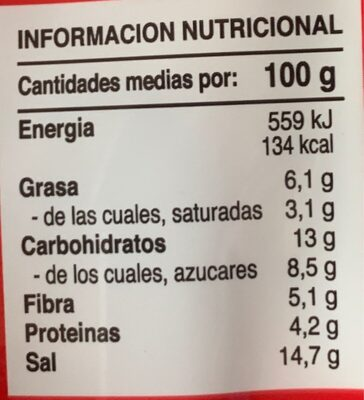 Curry rojo - Informació nutricional - es