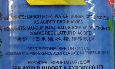Mangue au sirop - Ingredients