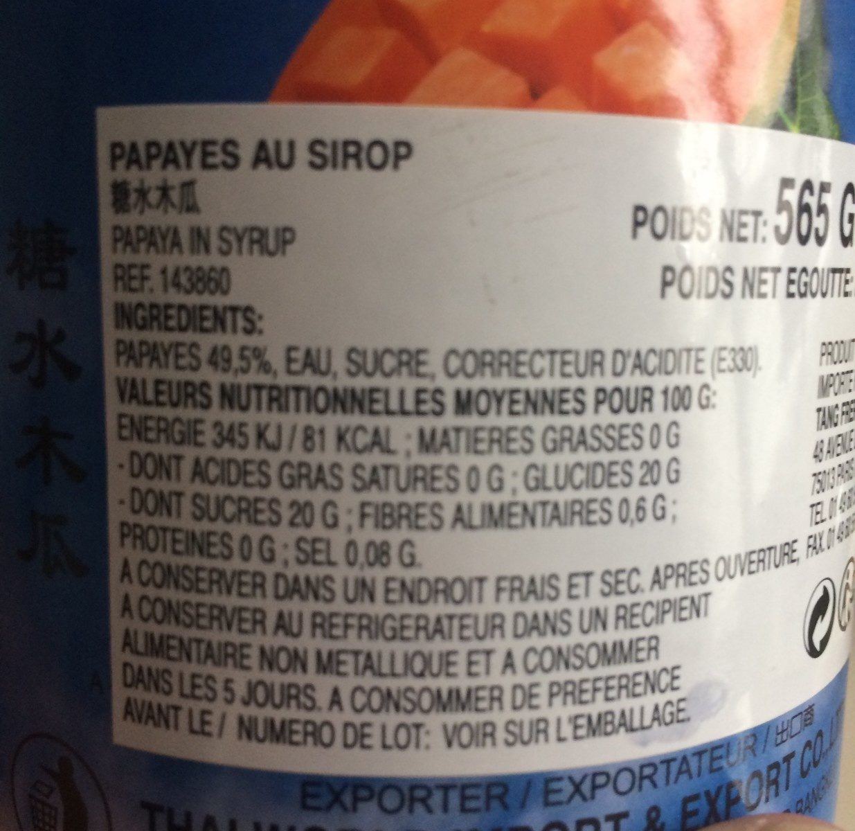 Papaye au sirop - Ingrediënten