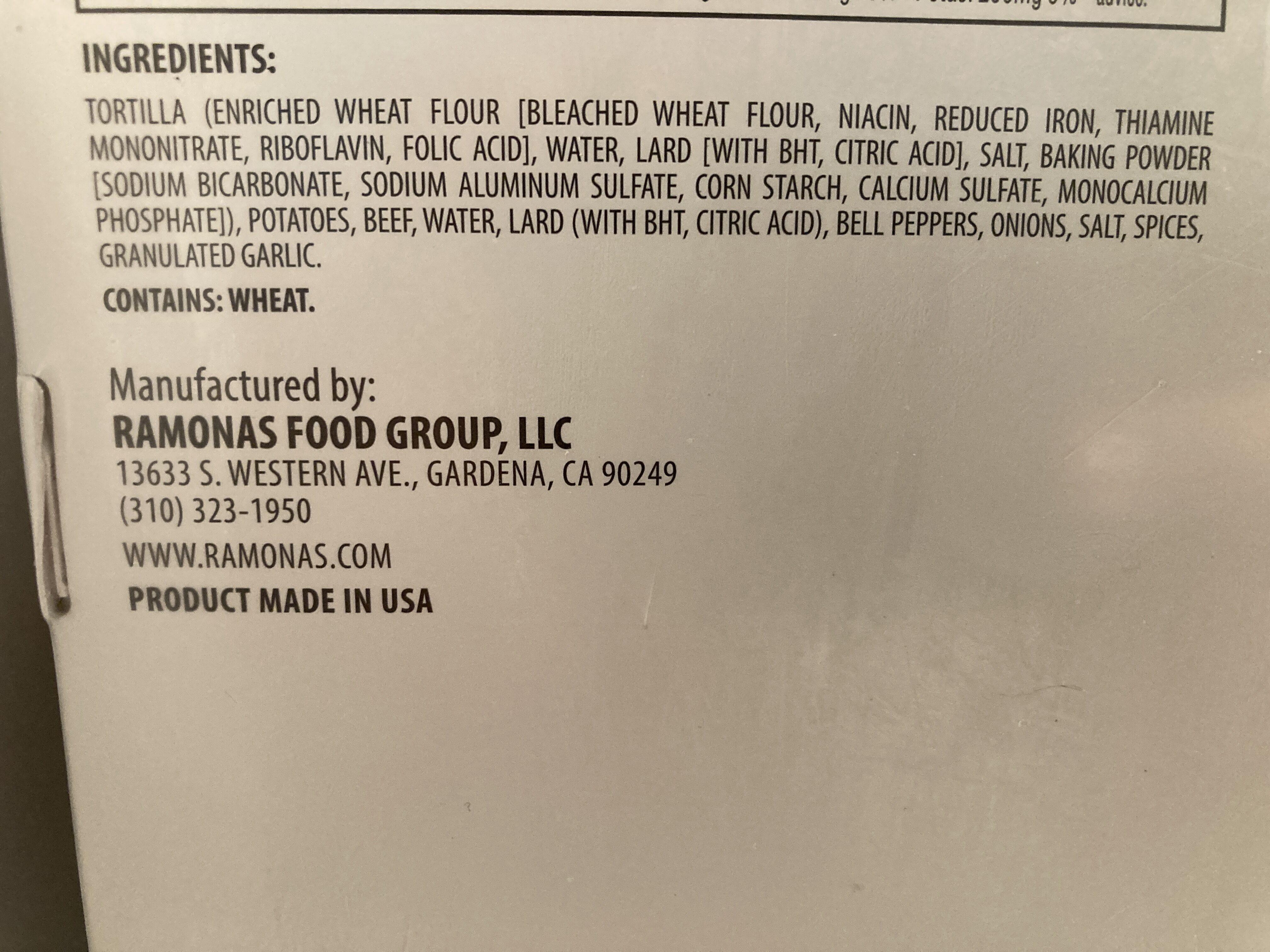 Ramona's Burritos Potato and Beef - Ingredients - en