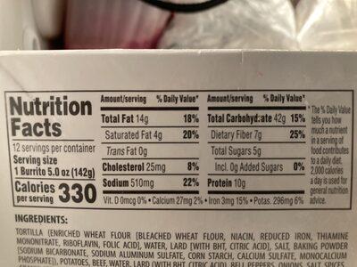 Ramona's Burritos Potato and Beef - Nutrition facts - en
