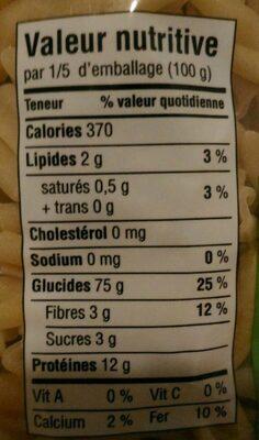 Casarecce - Informations nutritionnelles - fr