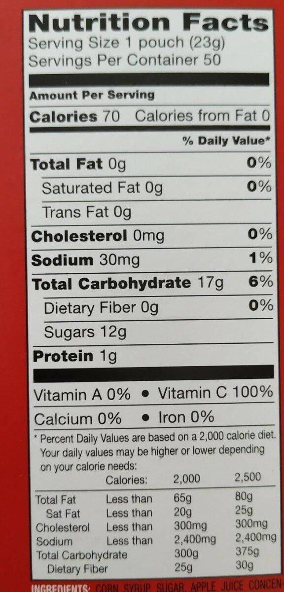 Grape, strawberry, orange, peach & raspberry fruit-flavored snacks, mixed fruit - Nutrition facts - en