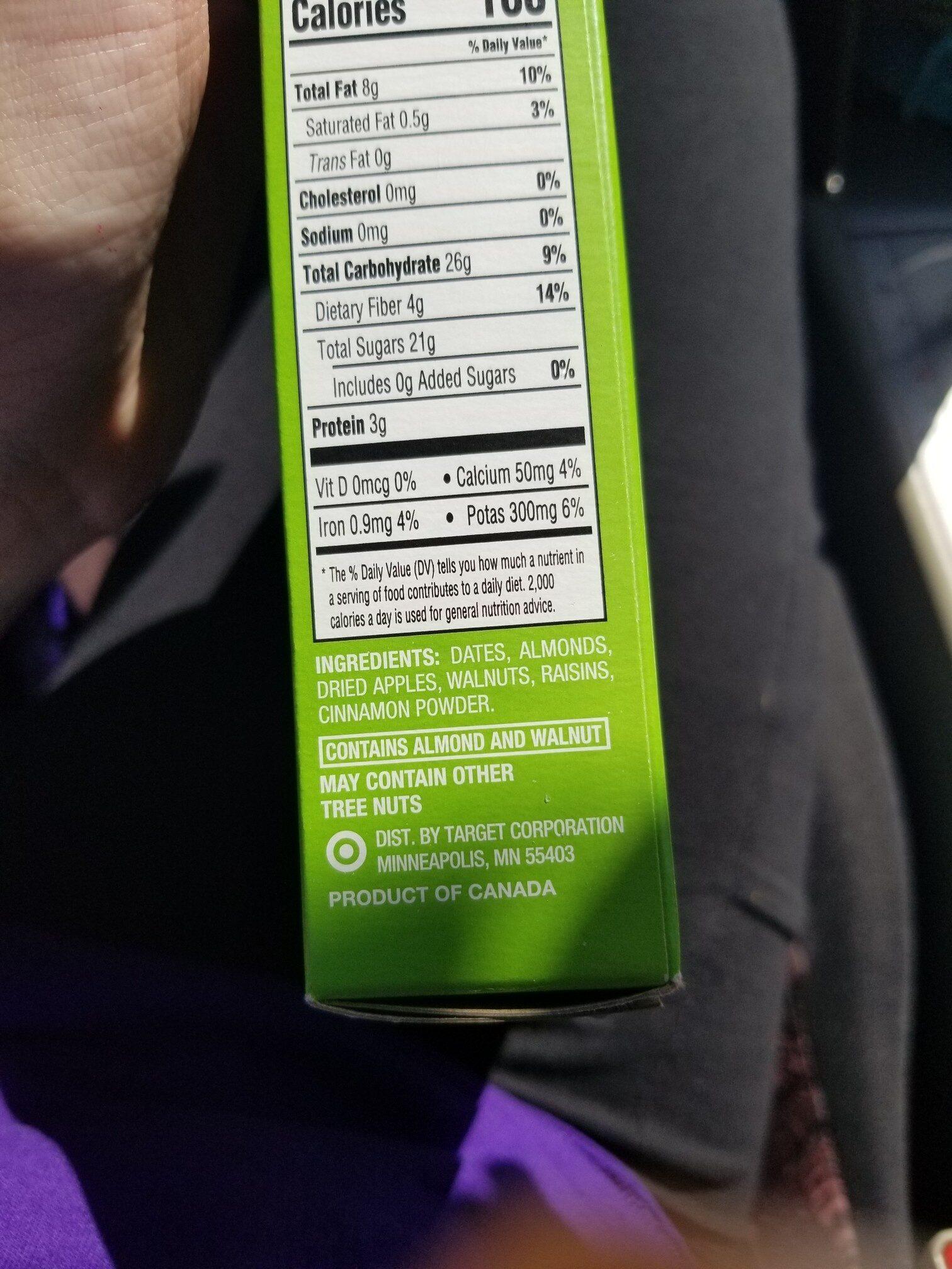 Date & Nut Bars Apple pie - Ingredients - en