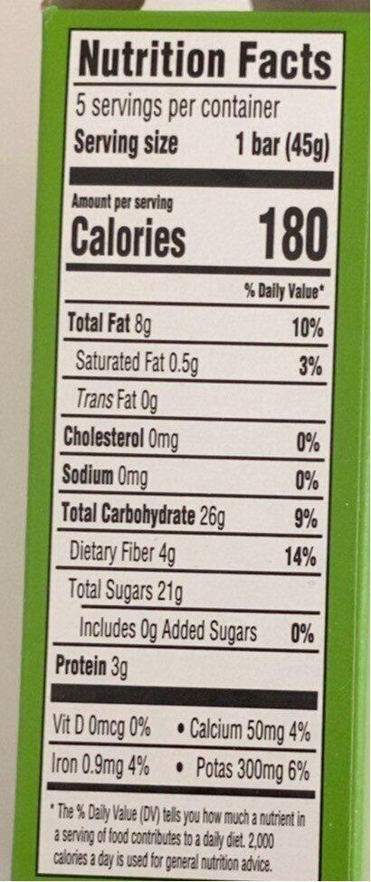 Date & Nut Bars Apple pie - Nutrition facts - en