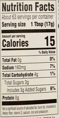 Ketchup - Nutrition facts - en