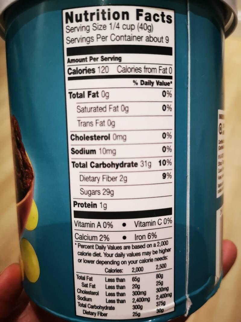 Organic Thompson Raisins - Nutrition facts