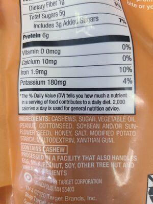 Honey Roasted Cashews - Ingrédients - en