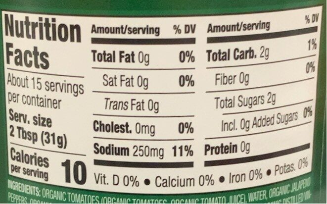 Organic Mild Chunky Salsa - Nutrition facts - en