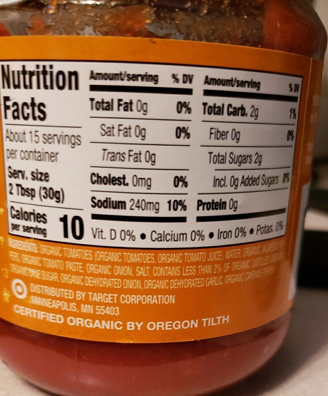 Organic Medium Chunky Salsa - Ingredients - en