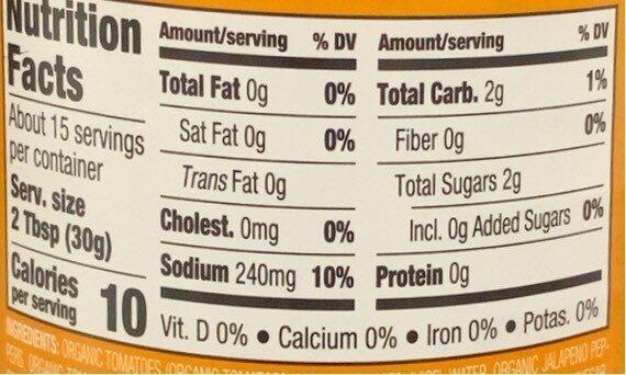Organic Medium Chunky Salsa - Nutrition facts - en